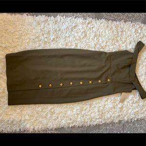 Off the shoulder olive military dress